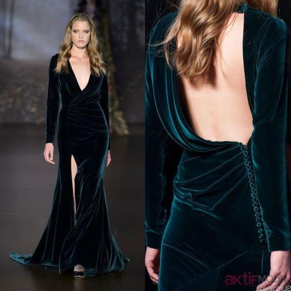 Kadife Elbise Modelleri 2019