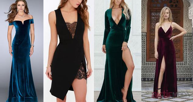Kadife Gece Elbisesi Modelleri 2019