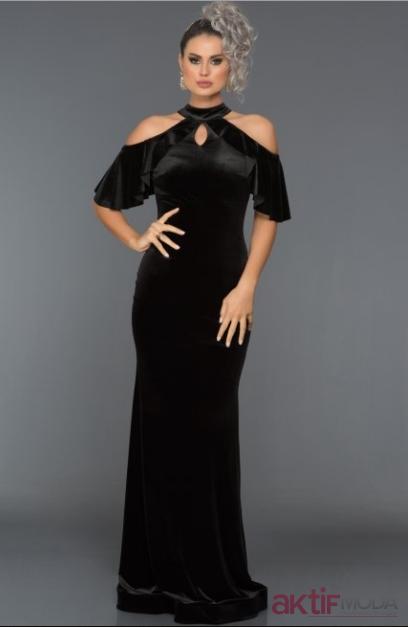 Omuz Dekolteli Kadife Elbise Modelleri