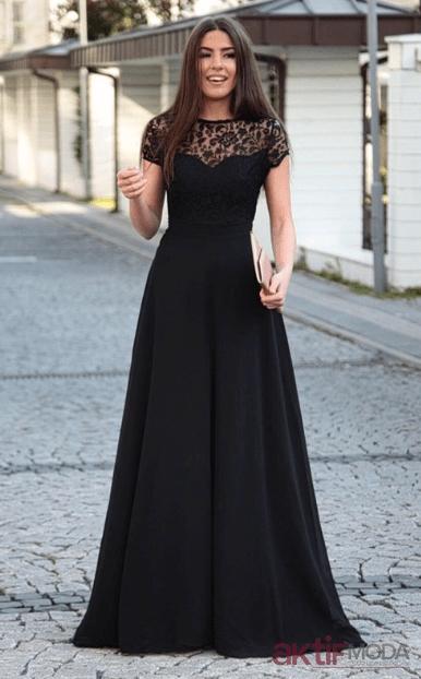 Siyah Dantelli Abiye Elbise Modelleri 2019