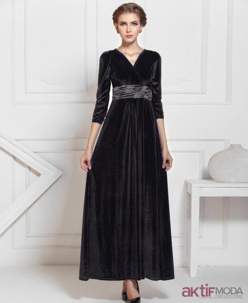 Siyah Kadife Elbise Modelleri 2019