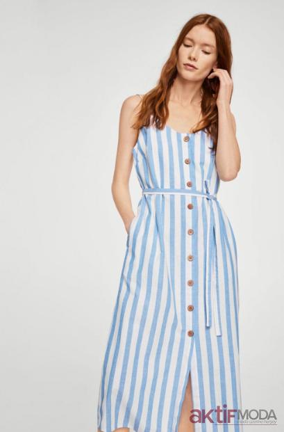 Uzun Şeritli Yazlık Elbise Modelleri 2020