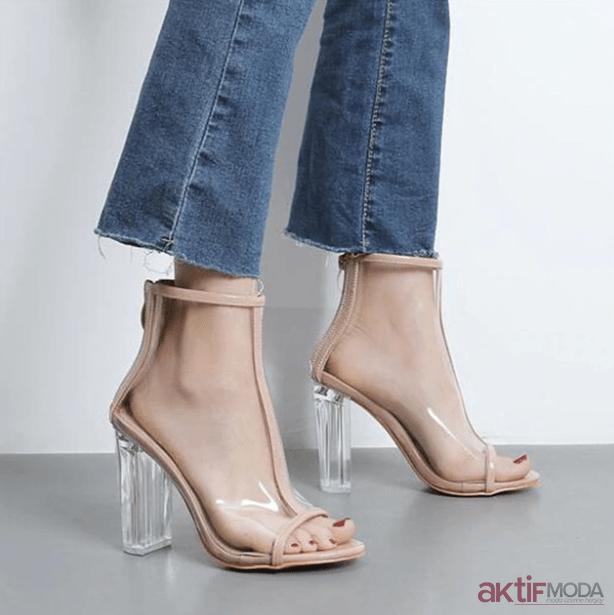 Yüksek Topuklu Yazlık Şeffaf Ayakkabı Modelleri 2019