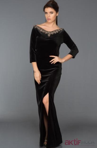 Yırtmaçlı Kadife Elbise Modelleri 2019