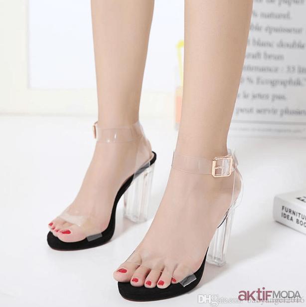 Yazlık Topuklu Şeffaf Ayakkabı Modelleri 2019