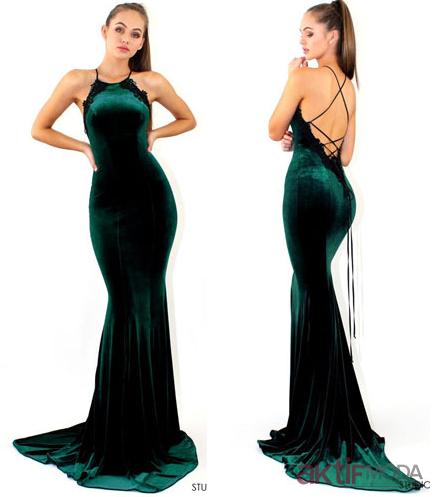 Yeşil Kadife Elbise Modelleri 2019