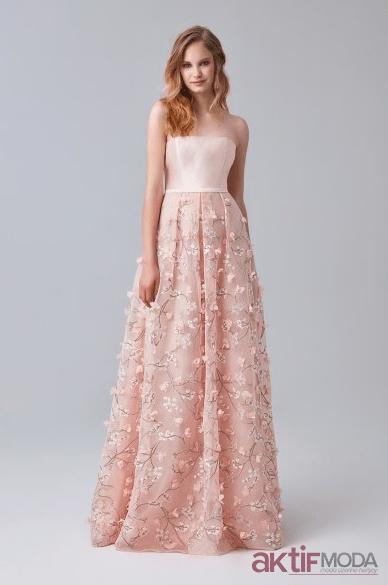 İşlemeli Pembe Straplez Düğün Elbise Modelleri 2019