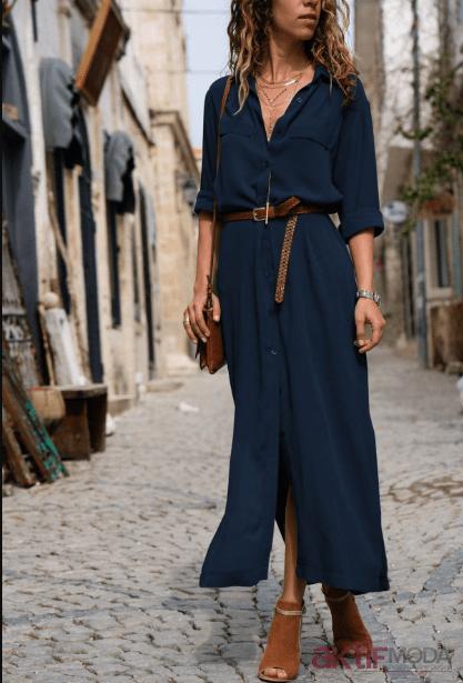 2019 Şifon Gömlek Elbise Modelleri