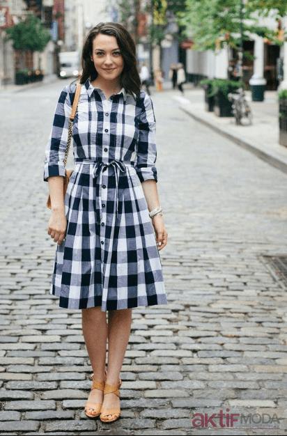 2019 Ekose Gömlek Elbise Modelleri