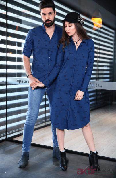 Desenli Mavi Gömlek Elbise Modelleri 2019