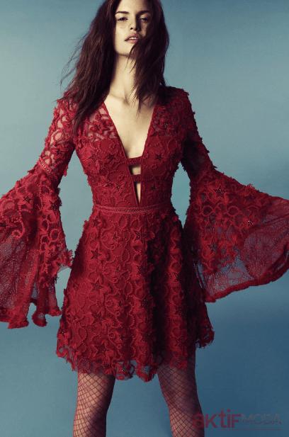 Kırmızı Dantelli Yaz Düğün Elbiseleri