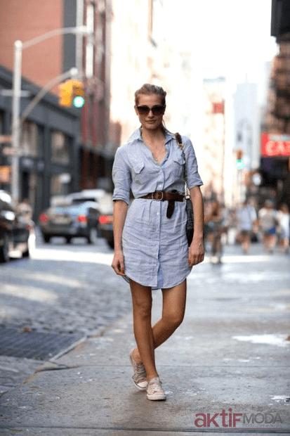 Kemerli Gömlek Elbise Kombinleri