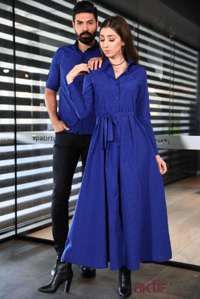 Mavi Gömlek Elbise Modelleri 2019