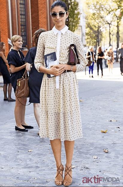 Puantiyeli Gömlek Elbise Modelleri