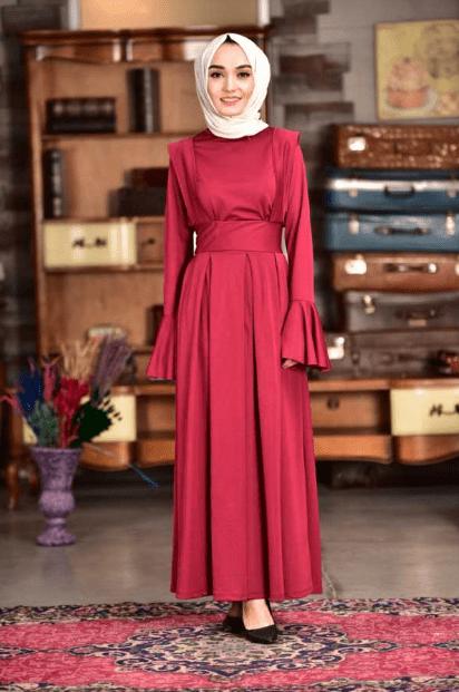 2020 Kırmızı Şal Tesettür Abiye Elbise
