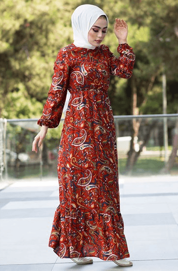 Desenli Şal Elbise Kombinleri