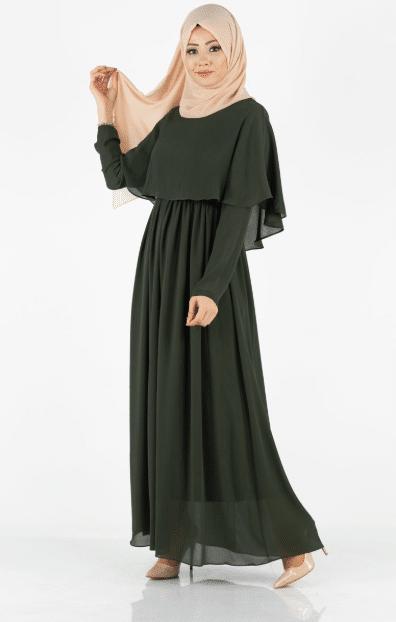 Haki Pelerinli Tesettür Elbise Modelleri 2020