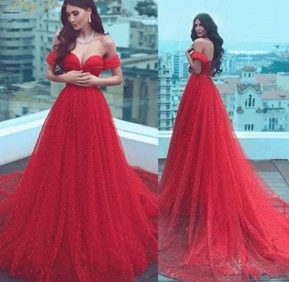 Kırmızı Düşük Omuz Abiye Elbise Modelleri