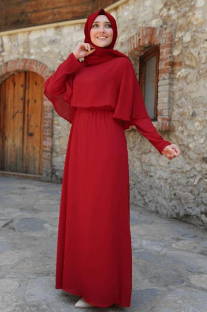 Kırmızı Pelerinli Tesettür Abiye 2020