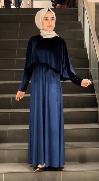 Lacivert Kadife Tesettür Elbise Modelleri 2020