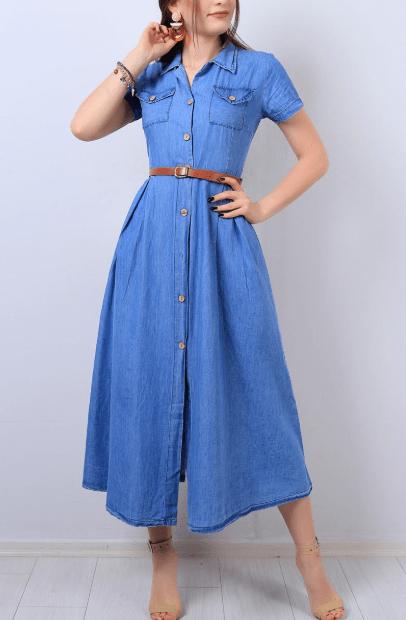 Mavi Düğmeli Kot Elbise Modelleri