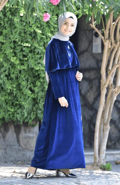 Mavi Kadife Tesettür Elbise Modelleri 2020