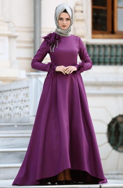 Mor Şal Elbise Modelleri 2020