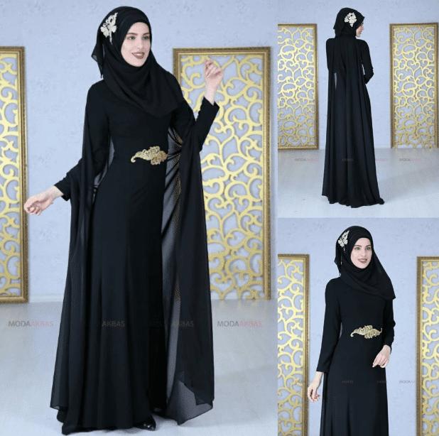 Siyah Pelerinli Tesettür Elbise Modelleri 2020