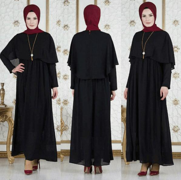 Siyah Pelerinli Tesettür Elbise Modelleri