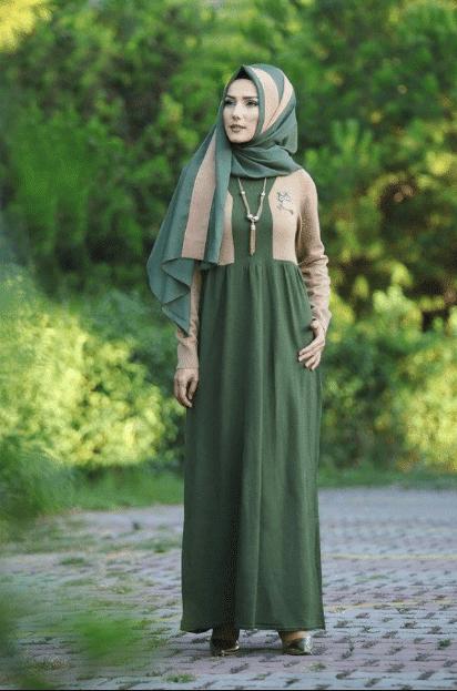 Yeşil Şal Elbise Kombinleri 2020