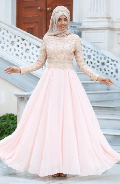 İşlemeli Pudra Tesettür Elbise Modelleri 2020