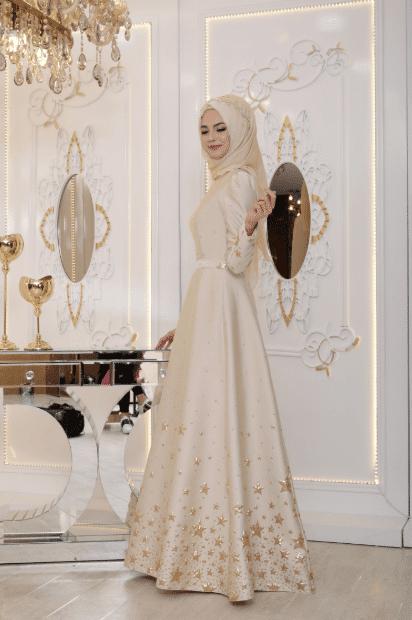 İşlemeli Tesettür Abiye Elbise Modelleri 2020