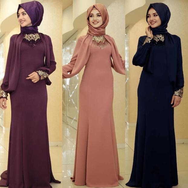 İşlemeli Tesettür Elbise Modelleri 2020