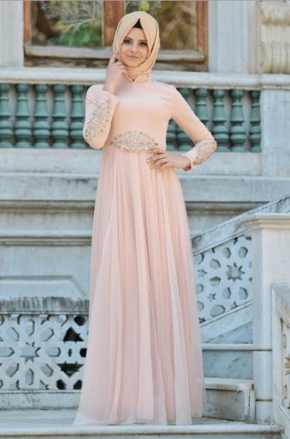 İncili Pudra Pembesi Elbise Modelleri 2020