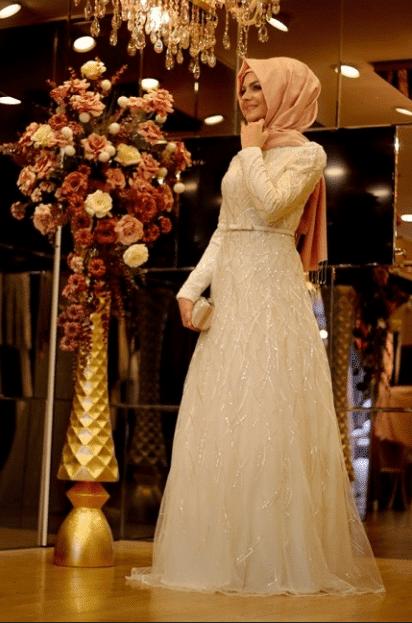 Şems İşlemeli Tesettür Elbise Modelleri 2020