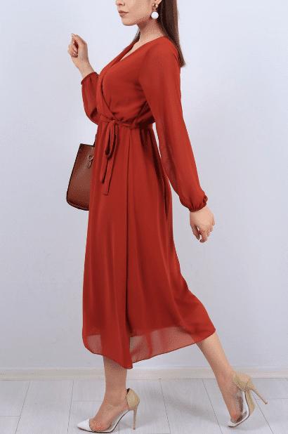 Şifon Kırmızı Abiye Modelleri 2020