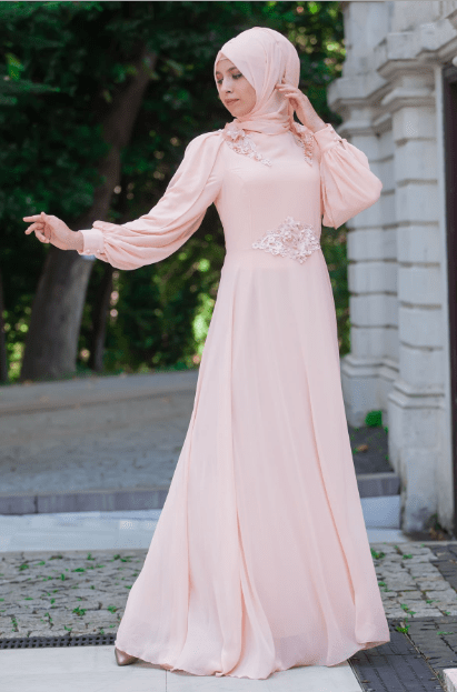 Şifon Pudra Abiye Elbise Modelleri 2020