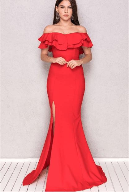 Balık Kırmızı Abiye Elbise Modelleri 2020