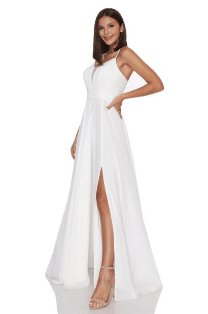 Beyaz Şifon Abiye Elbise Modelleri 2020