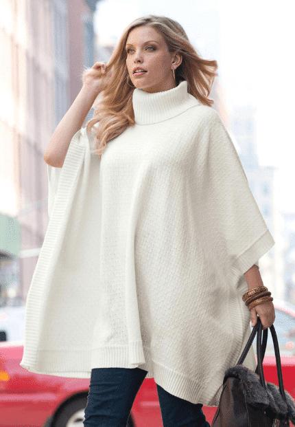 Beyaz Kadın Panço Modelleri 2020