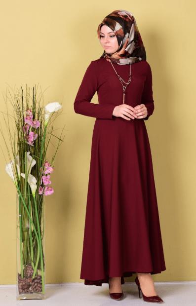 Bordo Tesettür Elbise Modelleri 2020