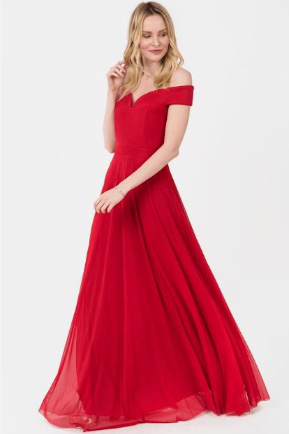 Düşük Omuz Kırmızı Abiye Modelleri 2020