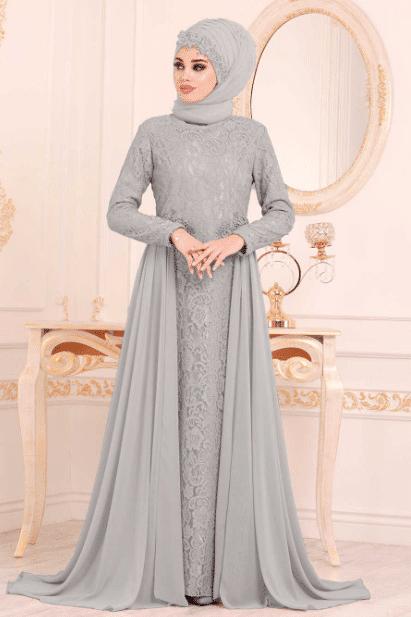 Gri Şifon Tesettür Abiye Elbise Modelleri