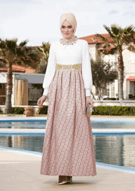 Krem Renkli Tesettür Abiye Modelleri 2020
