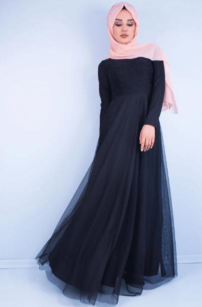 Lacivert Tüllü Abiye Elbise Modelleri 2020