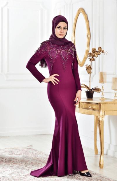 Mürdüm Tesettür Elbise Modelleri 2020