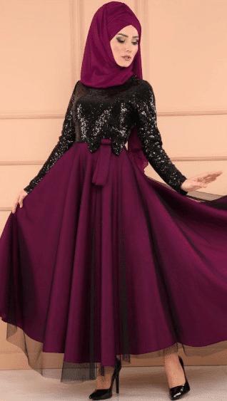 Mor Fiyonk Elbise