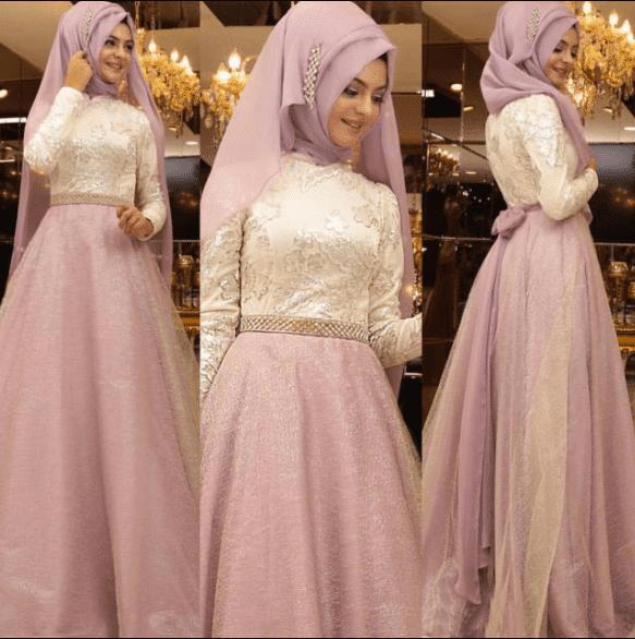 Pembe Tesettür Elbise Modelleri 2020