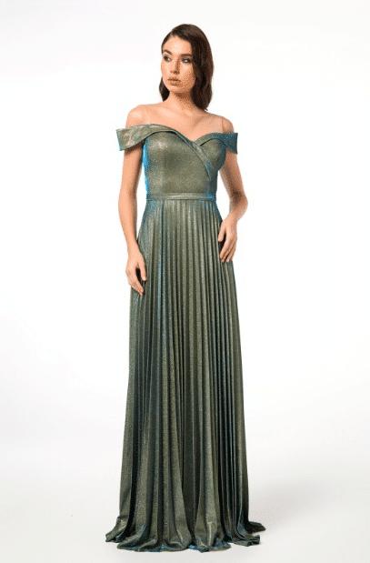 Pileli Yeşil Abiye Elbise Modelleri 2020