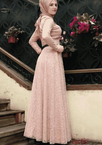 Pudra Dantelli Elbise Modelleri 2020